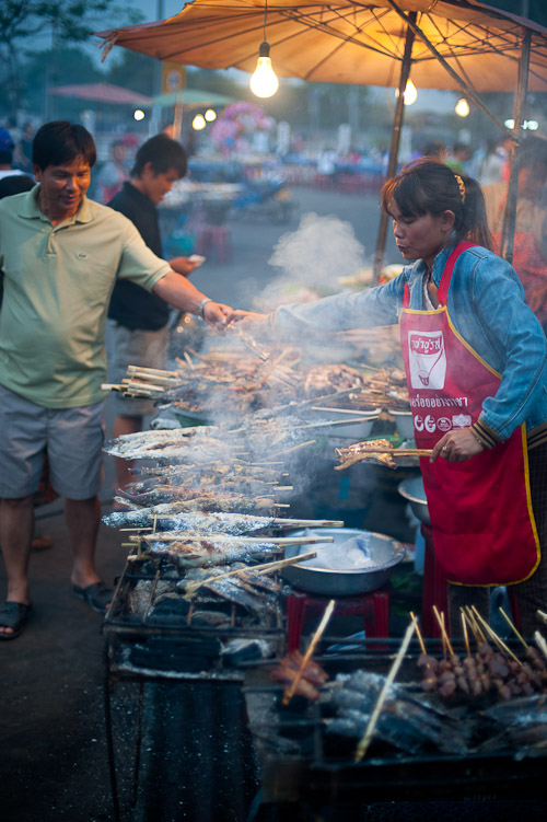 Grilling at Vientiane's Pha That Luang Evening Market, Laos