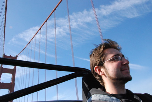 Krystian Driving Across the Golden Gate Bridge