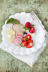 fresh radish, strawberry and goat cheese salad (cannelle-vanille) Tags: salad spring radishes strawberries mustard oliveoil goatcheese seasalt strawberrypicking cidervinegar quicklunch floridafarms