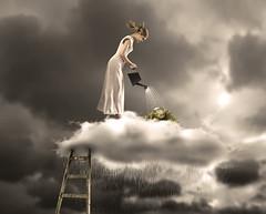 """How Its Made"" Rain (Csheemoney) Tags: lighting sky plants cloud storm girl rain fairytale studio photography high surreal sleepy fairy belgrade retouch beograd watering lader sleepwear nemanja pesic nostrobistinfo csheezio cshee csheemoney removedfromstrobistpool seerule2"