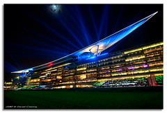Spaceship Meydan - A Night at the Races (DanielKHC) Tags: blue horse night digital race interestingness high nikon dubai dynamic stadium uae explore range fp frontpage 19 dri beams hdr blending d300 meydan dubaiworldcup danielcheong danielkhc tokina1116mmf28 gettyimagesmeandafrica1