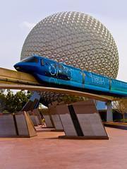Tronorail passing Spaceship Earth (Adam Hansen) Tags: orlando epcot earth disney spaceship monorail wdw waltdisneyworld tron epcotcenter tronorail