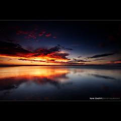 Best of both Worlds. ([ Kane ]) Tags: sunset sky orange sun beach wet water clouds reflections photography sand bravo colours purple dusk qld queensland bluehour kane reds cokin wellingtonpoint gledhill sigma1020 50d kanegledhill wwwhumanhabitscomau kanegledhillphotography
