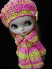 Neon cardi coat and hat