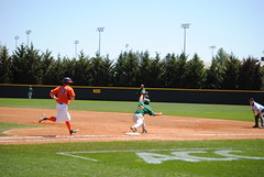 OUT AT FIRST (SneakinDeacon) Tags: acc baseball miami ncaa vt hurricanes blacksburg virginiatech hokies englishfield