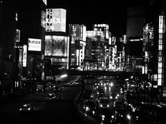 235/365: Shinjuku Night (joyjwaller) Tags: city blackandwhite cars japan night lights tokyo shinjuku neon peace traffic transit metropolis roam cure angst thefear project365