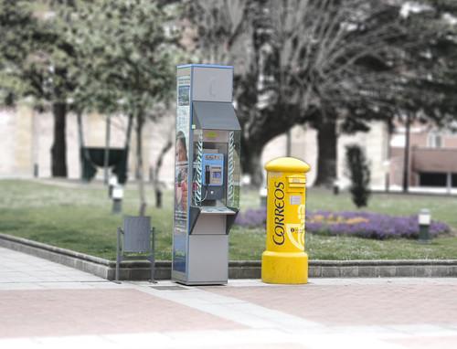 Mailbox, Pay Phone, Trash Can Still Life
