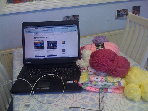 'My Work area!'. - I didnt want you to see my Crocheting! Suppose to be a surprise! (That is Bethel's stream on lappy!).  How come I haven't got a special room?