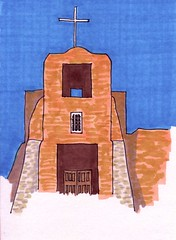 Southwest Church (Homemade Pop) Tags: art artwork artist folkart outsiderart folk originalart contemporary drawings pop popart homemade marker prints prismacolor foodart doodling 5x7 magicmarker foodpackaging pilotpen cheapart retroart brightart originalillustration quirkyart