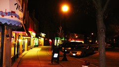 Night time in the Conti Parkway Circle. Elmwood Park Illinois. Early April 2010.