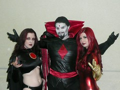 Mister Sinister, Goblin Queen, Dark Phoenix (BelleChere) Tags: comics costume orlando cosplay megacon marvel darkphoenix goblinqueen underboob mistersinister madelynpryor