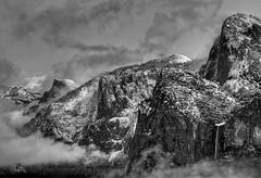 Winter in Yosemite Valley (BJ Anderson) Tags: winter blackandwhite bw mist snow mountains clouds mono yosemite halfdome yosemitenationalpark manualfocus bridalveilfalls nikond2x nikon2550f4ais
