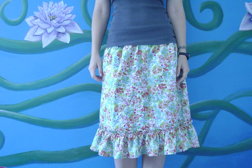 Floral skirt with knit waist