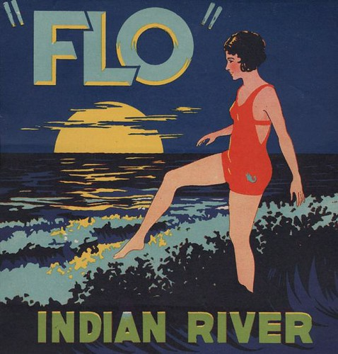Flo Indian River fruit crate label by Faustopia