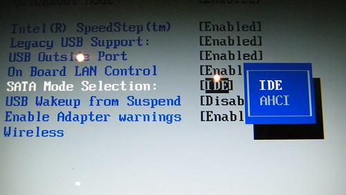 Changing boot to ide