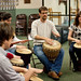 Students participate in an international drum circle along with Jonathan Kratz, international student services director, and Dr. Beth Aracena, associate dean for curriculum.