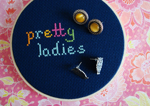 Cross Stitched Stud Earring Jewelry Display