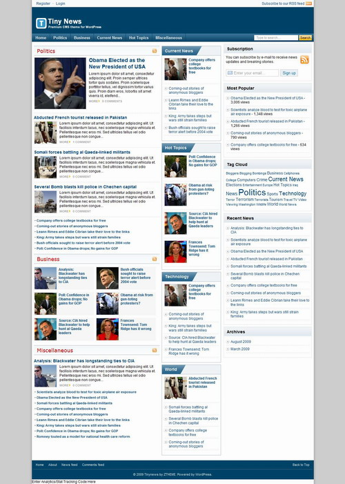 Tiny News   BlogOhBlog Premium Theme