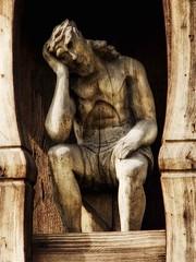 Pensive Christ / Frasobliwy (raphic :)) Tags: wood sculpture church lumix wooden christ cross religion jesus poland polska chapel panasonic pensive christianity roadside skansen dmc jezus lublin koci kapliczka rzeba drewno drewniana drewniany wiara raphic fz8 frasobliwy