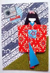 ATC264 - Geisha in the industrial estate (tengds) Tags: camera flowers red grass atc sticker kimono obi origamipaper papercraft blueandwhite japanesepaper washi ningyo handmadedoll handmadecard chiyogami yuzenwashi japanesepaperdoll washidoll origamidoll tengds flockingpaper japanesepatternprint