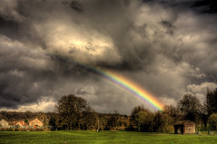 Rainbow at Golf Practice (Feo David) Tags: pink sky en storm france green colors grass sport club clouds canon ball golf eos iron play arc ciel golfing 5d practice tee hdr arcenciel fee raibow justclouds golfsport