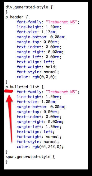 bulleted list CSS from InDesign