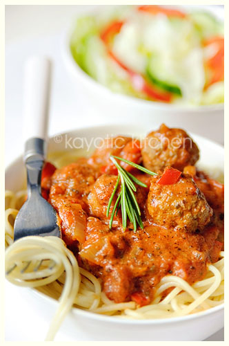Spaghetti and Parmesan Meatballs