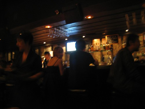 A blurry shot of the bar where Mikey got a number.