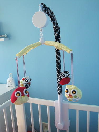 Owl mobile for a modern nursery