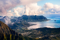 Pali (Jeremy Snell) Tags: ocean city pink blue mountains green colors beautiful clouds landscape island hawaii colorful oahu country land honolulu pali valleys