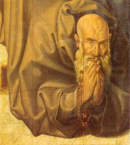 Detail of St. Antony with fishbone beds from the St. Vincent altarpiece by Nuño Gonsalves