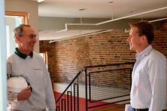 co-producer Joe Brinker, right, speaks with developer Bill Baum, who is featured in the film (courtesy of Joe Brinker & Steve Dorst)