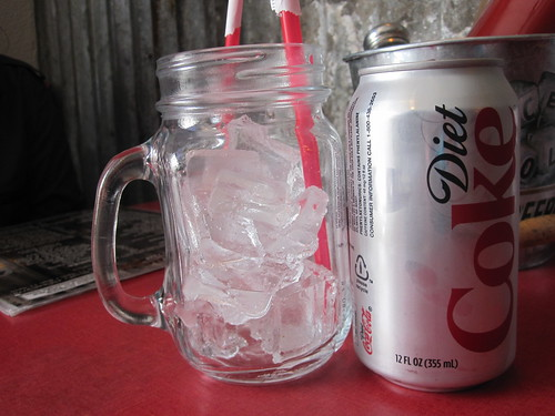 Diet Coke in a Mason mug at Hard Knox Cafe