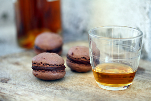 for chocolate macarons : one with an Armagnac-scented prune filling ...