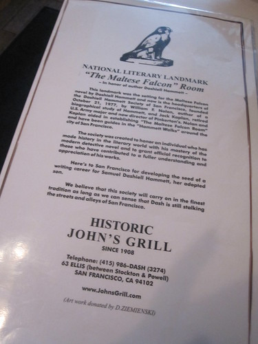 The Story of John's Grill, where a lot of The Maltese Falcon takes place