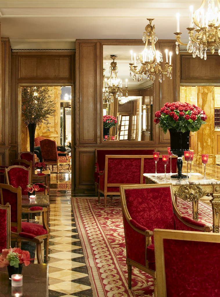 Luxurious atmosphere in the gallery of The Hôtel de Crillon, Paris, France
