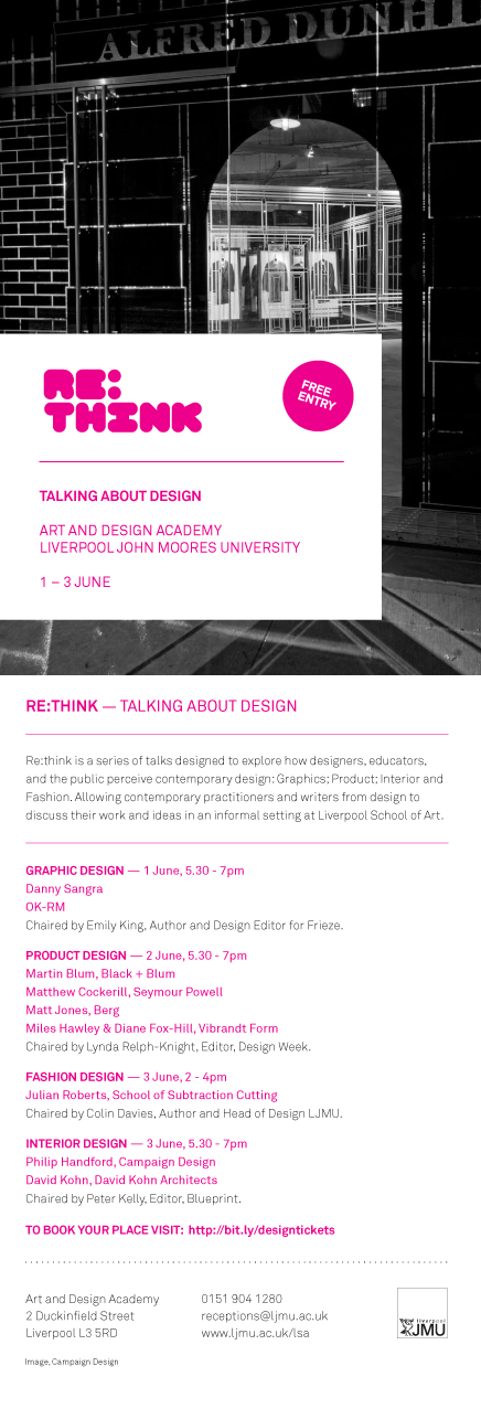 Re:Think event at LJMU Design Faculty, Liverpool, June 2nd 2010