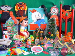 Friday Morning Thrills (raining rita) Tags: christmas halloween easter candles bank chick hong kong puzzle tiny eggs dishes teeny pinocchio halos 1960 humptydumpty playskool chirpping shackman playpalplasticsinc christmasvillageplasticvintage tinchildrensdishes tomycabbagepatchdollandbassinet