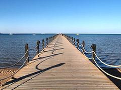 Shadows On The Pier (Oldt1mer - Keith) Tags: blue sea sky holiday pier shadows redsea egypt rope boardwalk makadibay mygearandmepremium mygearandmebronze mygearandmesilver