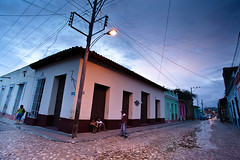 dusk (flamed) Tags: moody locals country cuba streetlife cobblestones powerlines trinidad poles cobbles puddles atmophere