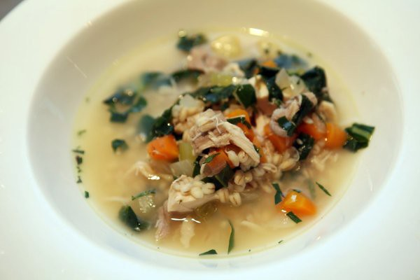 chicken, barley, tarragon & dandelion soup