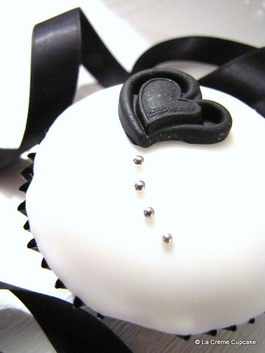 Pretty Embossed Heart Wedding Cupcake