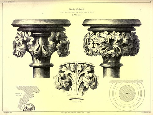 005- Catedral de Lincoln- capiteles de piedra de la nave sur del coro-Gothic ornaments.. 1848-50-)- Kellaway Colling.