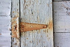 (hollyhollyoxenfree) Tags: hinge wood old white barn rust weatherd