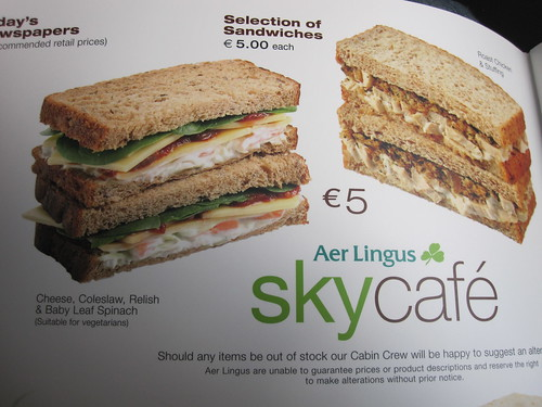 Are Lingus Sky Cafe - Nothing for Vegans but One Vegetarian  Sandwich
