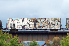 Kems & Yeti (huntingtherare) Tags: trestle bridge train bench graffiti freight wholecar benching