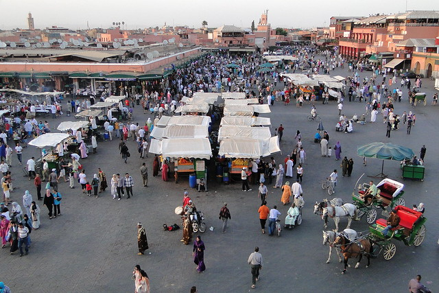 View over Djermaa el-Fna (Central Square) - Medina (Old City) - Marrakesh, Morocco