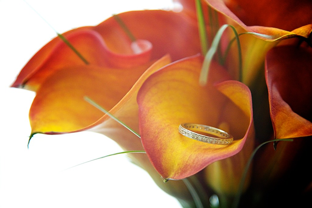 wedding ring & calla lilies
