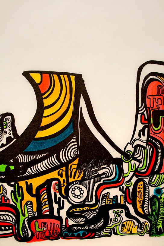 Detalhe gravura + canetinhas coloridas