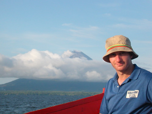 June 4 2010 Lee on Ometepe boat with volcano